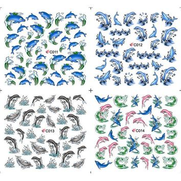4 PACKS / LOT BIG FISH DOLPHIN WAVE SEA NAIL TATTOOS STICKER WATER DECAL NAIL ART C011-014