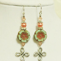 Salmon Pink and Mint Green Long Dangly Earrings