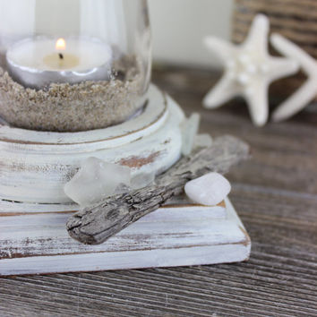 Beach Cottage Candle Holder with Sand , Driftwood and Seaglass - unique Nautical decor