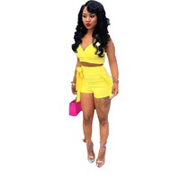 Two Piece Set 2018 Summer women crop tops High Waist Shorts 2pcs Ruffles Bow outfits Ladies Yellow Slim matching Clothes sets