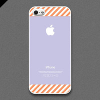 iPhone 5 Case - Orange stripe pattern on light purple color - also available in iPhone 4 and iPhone 4S size