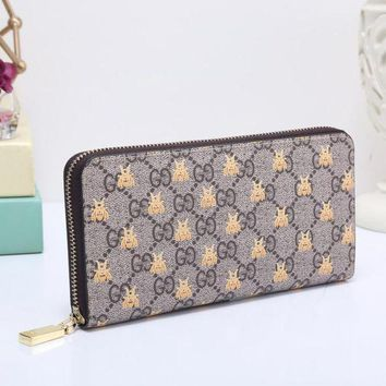 PEAPUP0 GUCCI Bee Women Fashion Embroidery Leather Buckle Wallet Purse Clutch Bag5