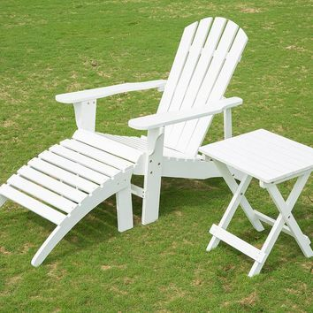 Adirondack Outdoor Wood Chair with Ottoman Side Table Patio Deck Porch Garden Lawn Yard Lounger Beach Furniture Set White Finish
