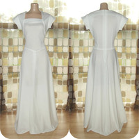 Vintage 70s WHITE Space Age Floor Length Maxi Dress M/L BOHO Wedding Bridal
