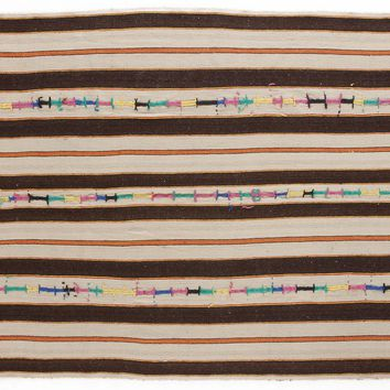 Handmade  Unique Striped Over Dyed Kilim Rug 5'5'' x 8'4'' ft 164 x 253 cm   (Free Shipping)