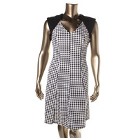 Spense Woman Womens Plus Houndstooth Ponte Wear to Work Dress