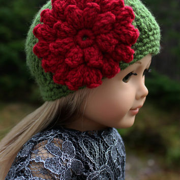 crochet beanie hat with flower, crochet doll hat, 18 inch doll clothes, american girl, maplelea