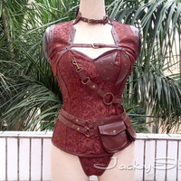 Steampunk Corset with Jacket Brown Brocade Steel Boned Corset Top with Grommets and Faux Leather Trim