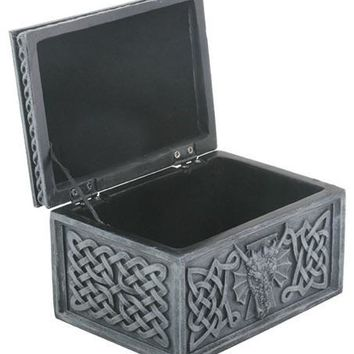 Celtic Dragon Hinged Theme Jewelry Box Grey