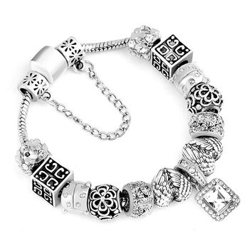 HOMOD Dropshiping Vintage Silver Charm Bracelets For Women White Crystal Heart Beads Pandora Bracelet Female Pulseras Mujer