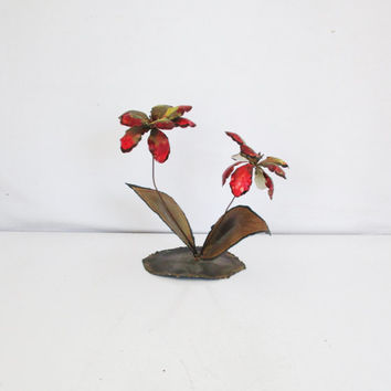 Vintage Metal Sculpture Brutalist Mid Century Modern Flower Sculpture Friedle Curtis Jere Era Brass Flowers Collectible Art Retro Decor