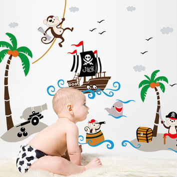 Creative kindergarten school classroom glass decorative coconut trees pirate ship children room wall stickers