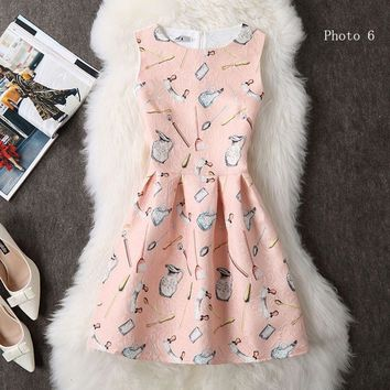 Fashion printed sleeveless dresses show tall waist small pure and fresh short dress-3