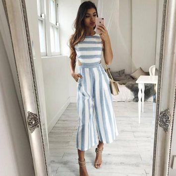 55059f97eba5 Striped jumpsuit Rompers 2017 Women Linen cotton overalls Ladies