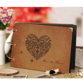"2016 New DIY"" 10"" Inch Photo Album Baby Lovers Wedding de fotografia Vintage with Black Paper Diary Stamp Notebook  9 Color"