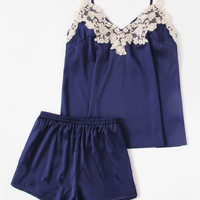 Embroidered Applique Detail Satin Cami & Shorts PJ Set -SheIn(Sheinside)