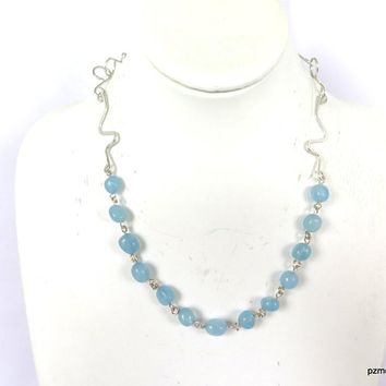 Aquamarine Gemstone Handmade Necklace - Handmade Jewelry