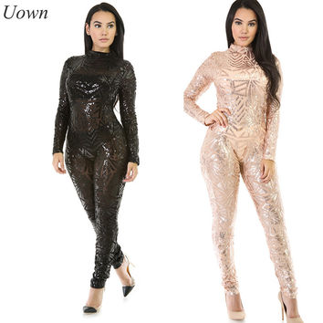 Long Sleeve Black Rose Gold Sequin Jumpsuit Women Sexy Sheer See Through Sparkly Glitter Bodycon Party Jumpsuit Long Rompers XL