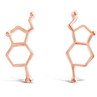 Rose Gold Happiness Molecule Serotonin Molecule Earrings