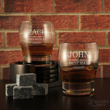 Personalized Whiskey Snifter with Groomsman Design Options & Font Selection OPTIONAL Four (4) Whiskey Stones or Engraved Whiskey Stones