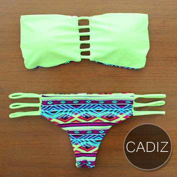 CADIZ - Handmade Brazilian Bikini with Reversible Bottom & Bandeau Strap Top in Unique Design