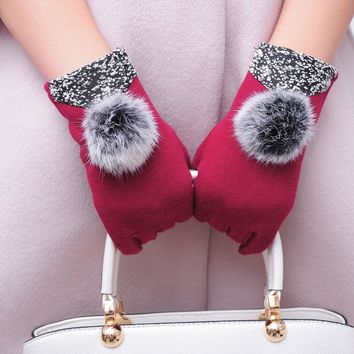 2017 Fashion Women Cotton PU Leather Winter Warm Gloves Black Grey Red Brown Color