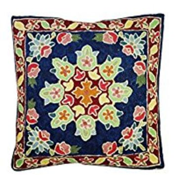 Mogul Decorative Cushion Covers Handmade Woolen Suzani Embroidered Indian Pillow Cases Bohemian Decor (Multi 10)