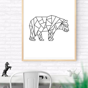 Geometric Bear, Origami Art, Printable wall art, Bear Art Print, Modern Bear Art, Nursery Art, kids Room Art, Woodlands Art, Wildlife Art