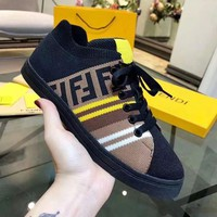 FENDI Tide brand casual men and women models color matching low to help fashion wild sports shoes