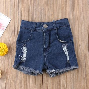 Hot Shorts 2018 Brand New Toddler Infant Summer Child Kids Baby Boy Girl Ripped Hole Wash Jeans  Pants Hot Pants Summer Jeans AT_43_3