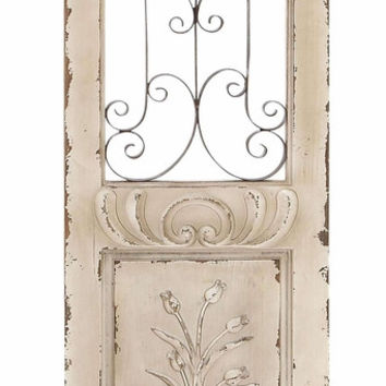 Benzara Wood Metal Wall Panel Sculptured In Shape Of Rectangular Door