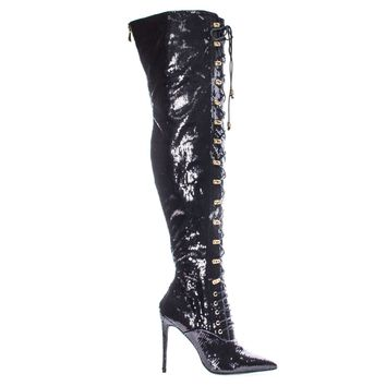 Ecstasyh Black By Liliana, Military Combat Corset Lace Up Mesh Glitter Over Knee, High Heel Dress Boot