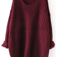 Red Oversized Loose Knit Sweater