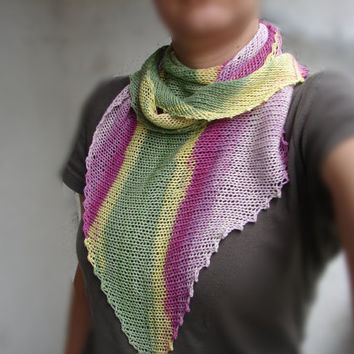 Striped cotton shawlette, pink, green and yellow scarf for women and girls READY TO SHIP
