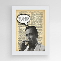 Humphrey Bogart Casablanca Quote He's looking at You Kid Vintage Movie Poster Dictionary Art Print Book Art Upcycled Dictionary Poster