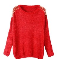 PrettyGuide Women Embellished Spiked Studs Chain Jumper Sweater Tops Red