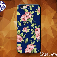 Vintage Rose Wallpaper Pattern Pink Blue Flower Cute Custom Case For iPhone 4 and 4s and iPhone 5 and 5s and 5c and iPhone 6 and 6 Plus +