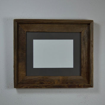 Upcycled wood picture frame 8x10 with 5x7 mat