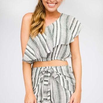 Half Shell One Shoulder Ruffle Crop Top