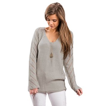 Oatmeal Open Knit Sleeve Cutout V Neck Sweater