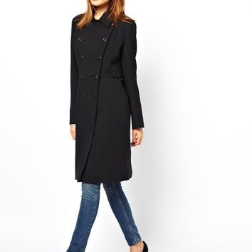 French Connection Military Double Breasted Coat