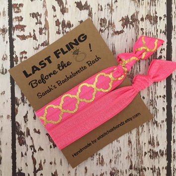 Last Fling Before the Ring - Custom Bachelorette Party Favors Quarter Foil - Hair Tie Favors -  Choose your color