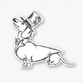 George the Dapper Dachshund - Decal Sticker