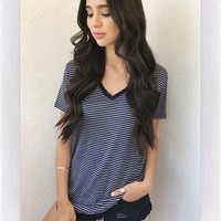 SIVAN V NECK TOP- NAVY STRIPE
