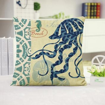 Jellyfish Cotton Linen Pillow Cover