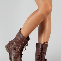 Cana-8 Round Toe Military Lace Up Boot