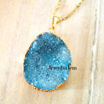 Blue Druzy Necklace Sapphire Geode Gemstone Crystal Quartz Agate Stone Gold Layered Long Drusy Mineral Pendant Rustic Statement