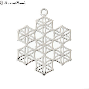 Silver Flower of Life Snowflake Pendant