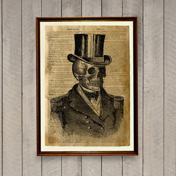 Skull illustration Dictionary print Victorian Skeleton poster Anatomy decor
