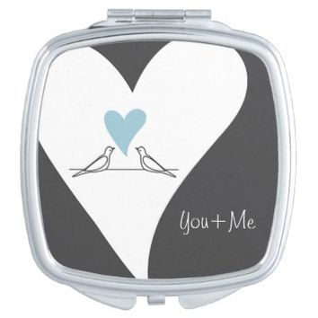 Cute White Doves in Love Personalized Square Compact Purse Mirror Gifts for Her: You & Me: Wedding Gift